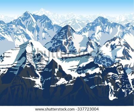 vector himalaya mountains