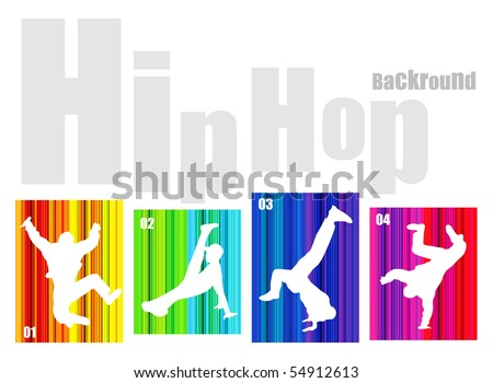 Vector hip-hop silhouette on abstract background. No transparency and effects (EPS 8v)