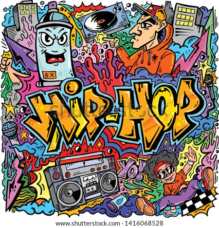 vector hiphop graffiti doodle