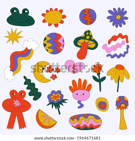 vector hippie stickers from the 60s and 70s - flowers, monsters, shapes.Summer groove and funky.Abstract forms are common for tattoo.Retro vibes festival.Hearts, peace and love.For plotter silhouette