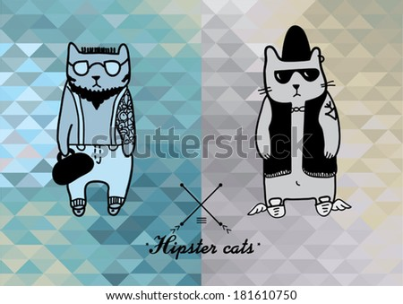 vector hipster cats