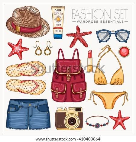 vector hipster fashion woman's