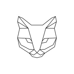 Vector hipster geometric head of cat of triangles. Origami style.