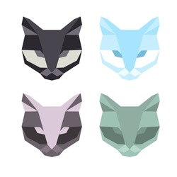 Vector hipster geometric set of cat of triangles. Origami style.