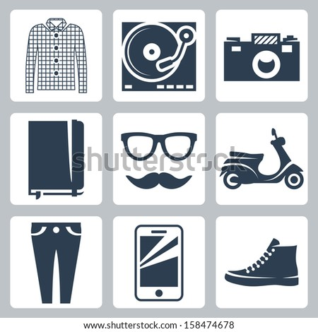Vector hipster icons set: check shirt, record player, camera, writing pad, glasses, mustache, scooter, skinny jeans, smartphone, sneakers