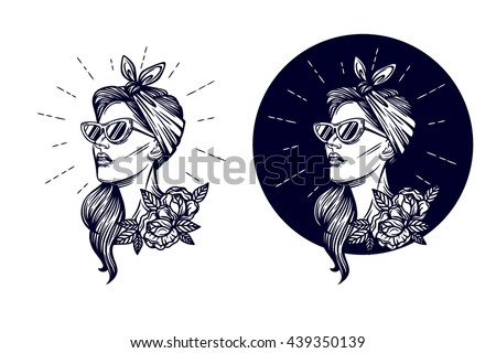 Vector hipster logo. Label, badge girl silhouette. Vector black and white illustration of a girls head in retro style
