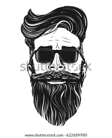 Vector hipster man bearded face in sunglasses