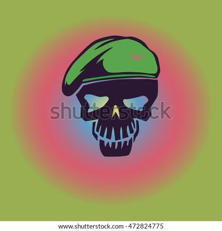 vector hipster military skull
