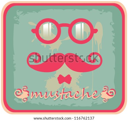 Vector hipster mustache and eyeglasses