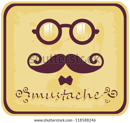 Vector hipster mustache and eyeglasses icons sticker card