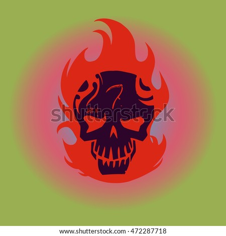 vector hipster skull on fire