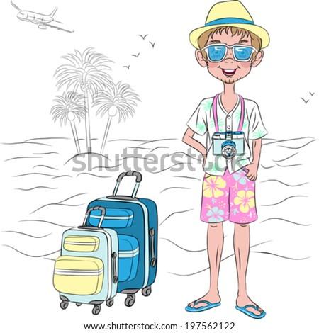 vector hipster traveler guy