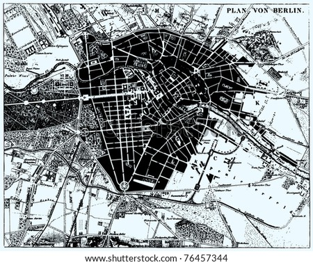 Vector Historical map of Berlin, Germany, from atlas published in 1851. Other vector maps in my portfolio. - stock vector