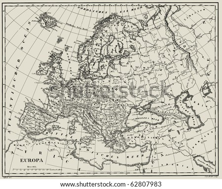 Vector Historical map of Europe from atlas published in 1851. Other vector maps in my portfolio.