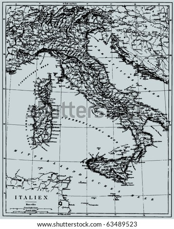 "Vector Historical map of Italy from ""The Bilderatlas"" by F. A. Brockhaus atlas published in 1851. Other vector maps in my portfolio."