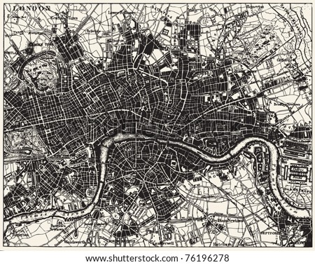 Vector Historical map of London, England, from atlas published in 1851. Other vector maps in my portfolio.