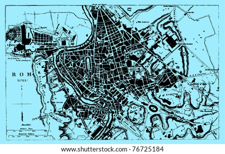 Vector Historical map of Rome, Italy, from atlas published in 1851 (The iconographic encyclopedia of science, literature and art). Other vector maps in my portfolio.