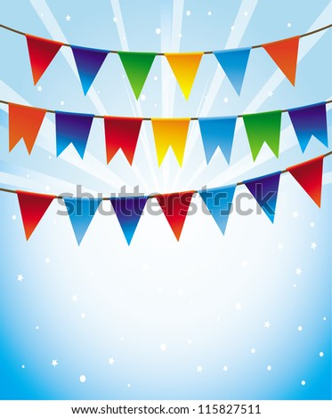 Vector holiday background with bright flags -frame for greeting card