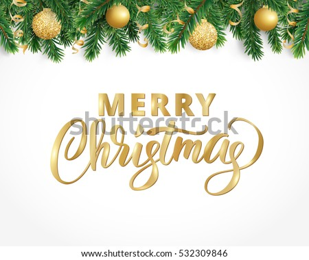 Vector holiday background with fir tree branches, ornaments and Merry Christmas letters. Hanging balls and ribbons. Isolated conifer garland frame, border. Great for banners, flyers, party posters.