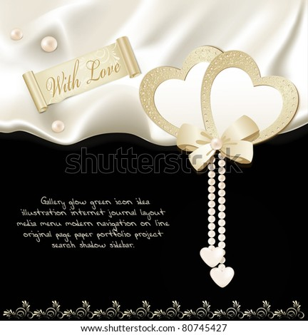 vector holiday black background with silk, two hearts and pearls