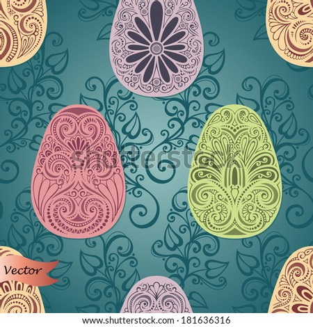 Vector Holiday Easter Seamless Pattern with Eggs and Leaves