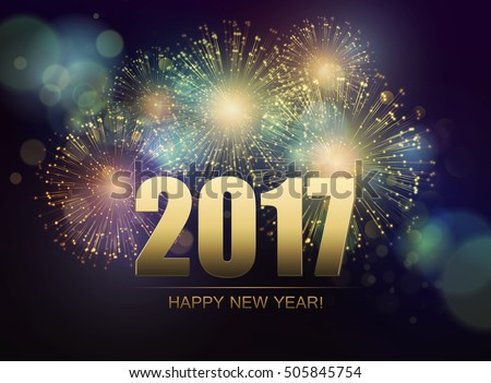 Vector Holiday Fireworks Background. Happy New Year 2017