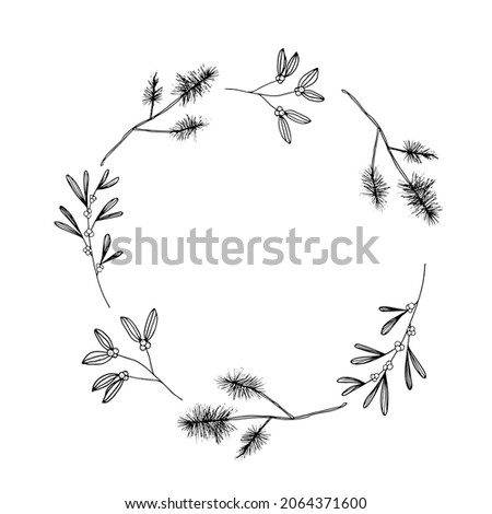 Vector Holiday frame. Illustration for invitation cards. Merry Christmas design for congratulations.