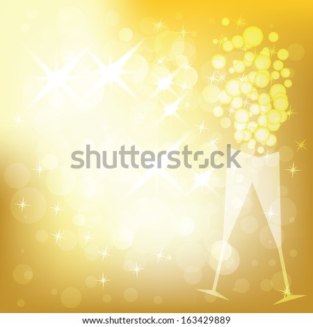 Vector holiday golden background with lights