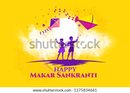 vector holiday illustration. children fly kites for the holiday Makara Sankranti or Sankranti. Hindu harvest festival, celebrated at the winter solstice. graphic design yellow background