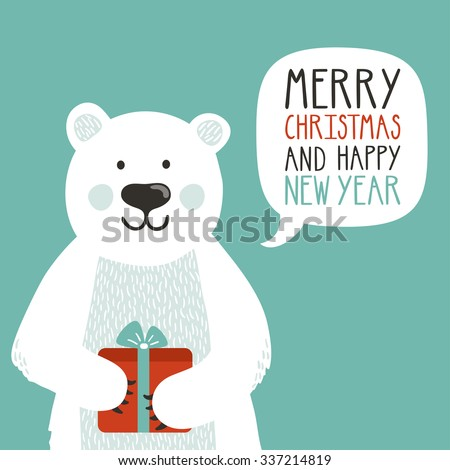vector holiday illustration of a cute polar bear with gift box saying