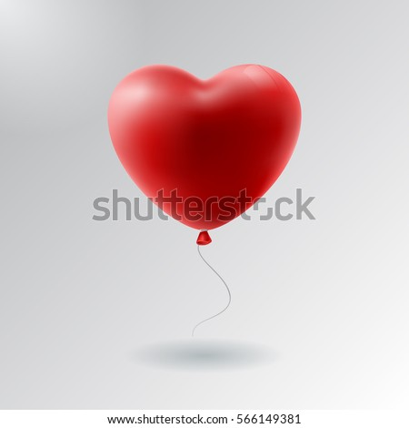 vector holiday illustration of flying red balloon heart. Happy Valentines Day