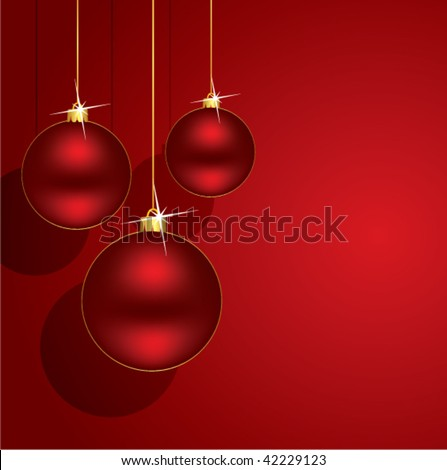 vector holiday illustration with red christmas balls. holiday illustration for happy new year and merry christmas greeting cards #42229123