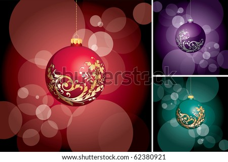 vector holiday layout in three color variations, eps 10 file, fully editable
