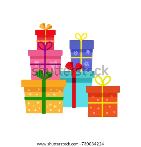 vector holiday present colored gift boxes, packaging pile. Flat cartoon isolated illustration on a white background. Christmas, new year birthday gift concept
