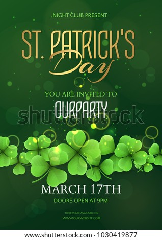 Vector holiday template of a poster for a party of Saint Patrick's Day with realistic clovers. Green festive blur background with shamrocks for design of flyers, banners and invitation cards.