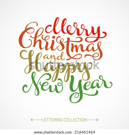 Vector holidays inscription with ornamental elements on paper background Merry Christmas and Happy New Year greeting card