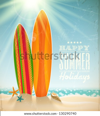 Vector holidays vintage design surfboards on a beach against a sunny seascape