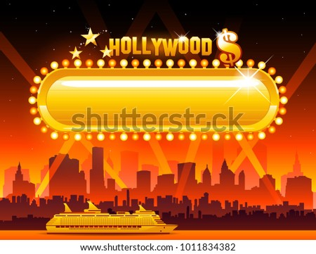 Vector Hollywood background cityscape and movie sign