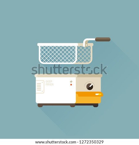 vector home deep fryer for cooking french fries and roast product in hot oil / household equipment / flat illustration, cartoon style / isolated, sign and icon template  Stockfoto ©