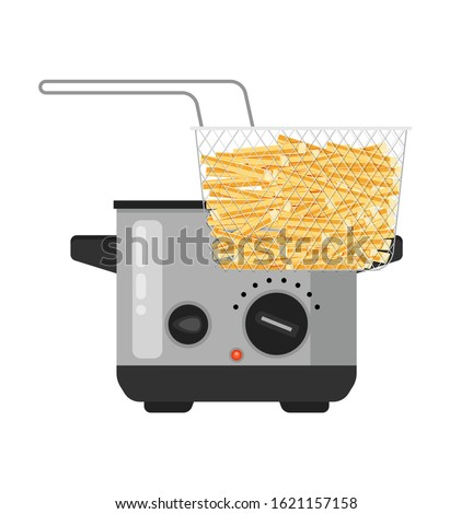Vector home deep fryer for cooking french fries and roast product in hot oil household equipment flat illustration, cartoon style isolated.   Stockfoto ©