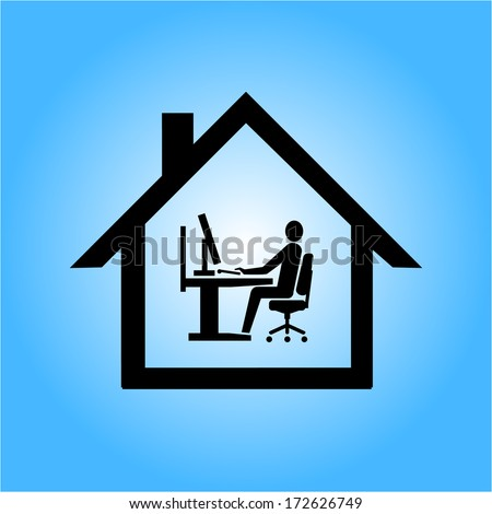 vector home office icon flat design infographic pictogram black on blue background