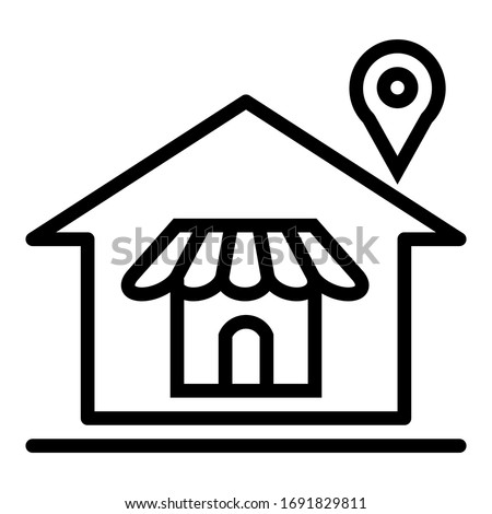 Vector  home outline icon with shop store and pin location on white background.