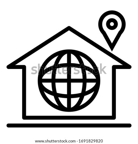 Vector home outline icon with world social and pin location on white background.