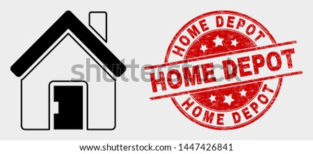 Vector home pictogram and Home Depot seal. Red rounded scratched seal with Home Depot caption. Vector composition in flat style. Black isolated home icon.