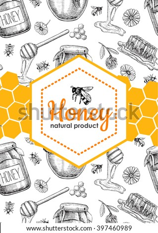 Vector honey bee hand drawn illustrations. Jar, bee, honeycomb, flower objects. Banner, poster, label, brochure template for business promote.
