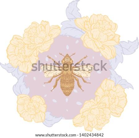 vector honey bee with roses in