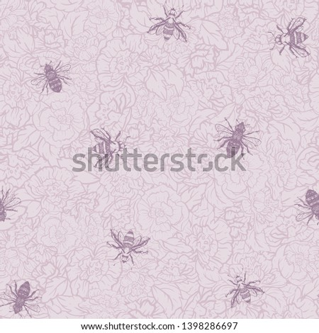 vector honey bees with roses in