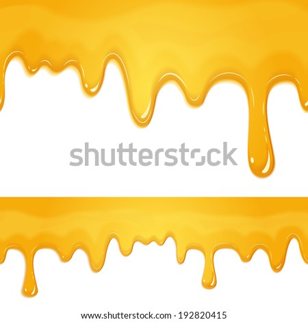 vector honey drips seamless patterns on white background