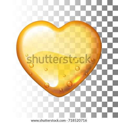 Vector honey heart on transparent background. Eps10. RGB. Global colors