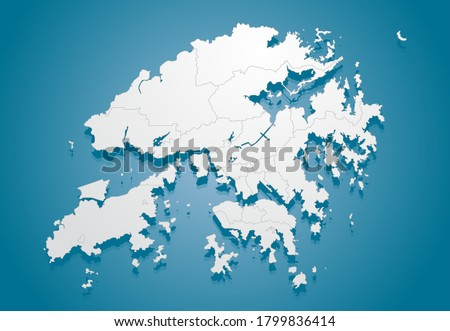 Vector Hong Kong region China border map isolated on background. Flat region template travel pattern, report, infographic, backdrop. Asia nation business silhouette sign concept.